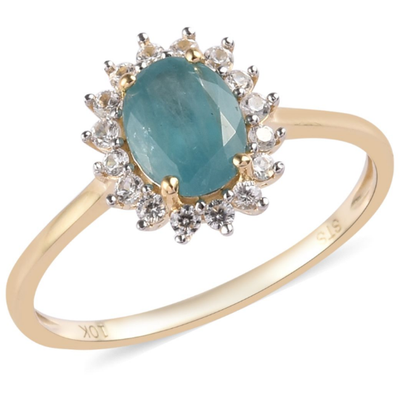 Grandidierite & Zircon Halo Ring in 10K Yellow Gold Gemstone Collectors U.S.
