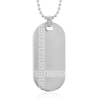 "Greek Key Dog Tag Pendant Necklace in Stainless Steel 24"" Gemstone Collectors U.S."