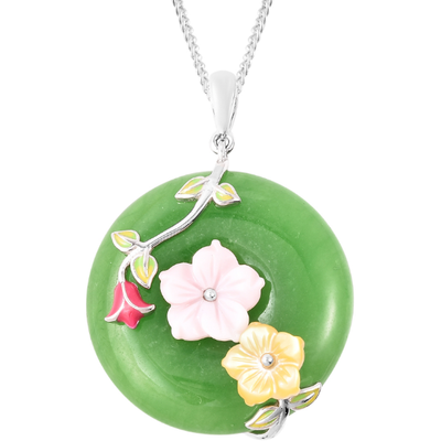 Green Jade Floral Pendant in Platinum over Sterling Silver Gemstone Collectors U.S.