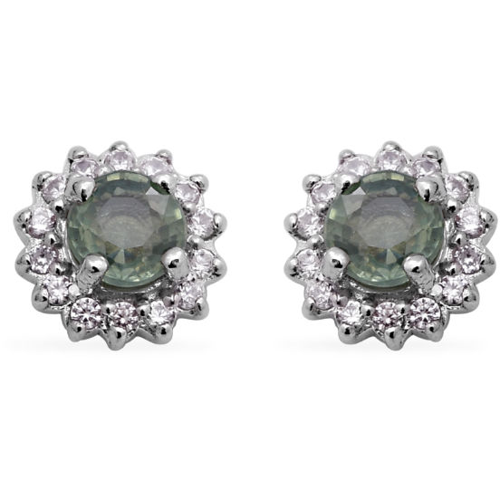 Green Sapphire and White Zircon Halo Stud Earrings in Platinum over Sterling Silver Gemstone Collectors U.S.