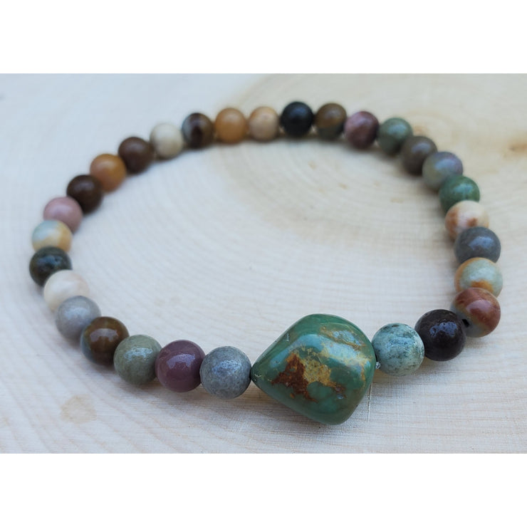 Green Turquoise and Fancy Jasper Mala Bracelet Mindful Creations by Gloria
