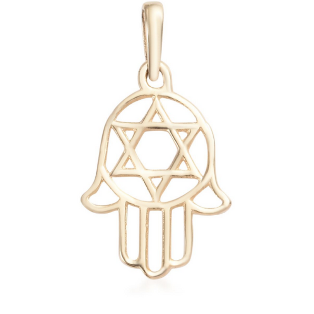 Hamsa Hand Pendant in 10K Yellow Gold Gemstone Collectors U.S.