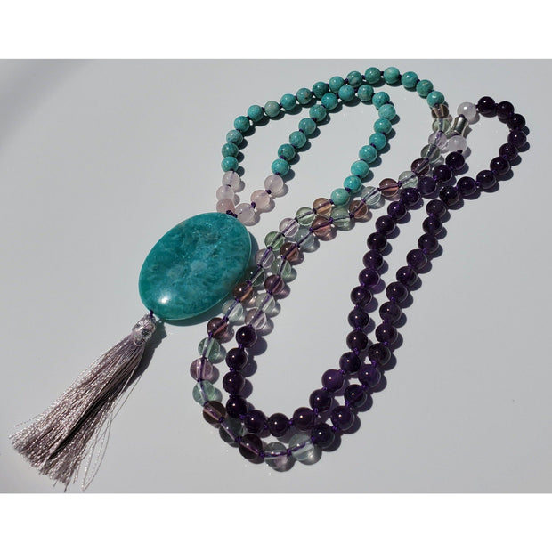 Handcrafted Amazonite, Rose Quartz, Fluorite And Amethyst Mala Necklace Mindful Creations by Gloria