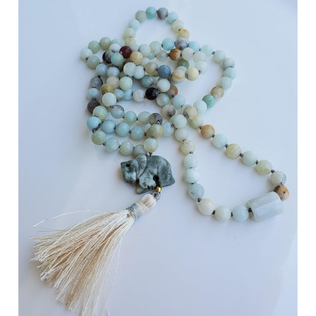 Handcrafted Amazonite with Jasper & Jade accents Mala Necklace Mindful Creations by Gloria