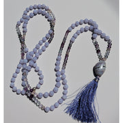 Handcrafted Blue Lace Agate, Opal & Fluorite Mala Necklace Mindful Creations by Gloria
