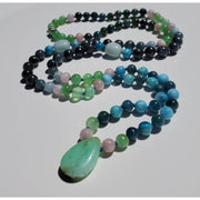 Handcrafted Chrysophrase and Kunzite Mala Necklace Mindful Creations by Gloria