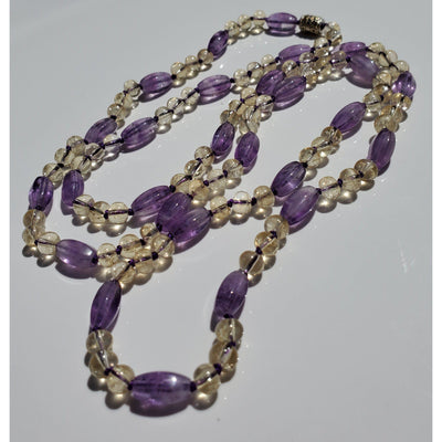 Handcrafted Citrine And Amethyst Mala Necklace Mindful Creations by Gloria