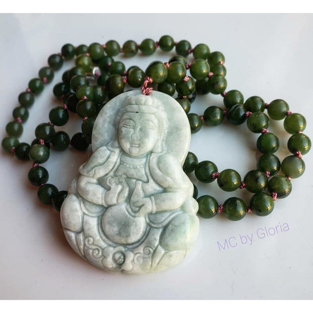 Handcrafted Jade Goddess and Green Jasper Mala Necklace Mindful Creations by Gloria