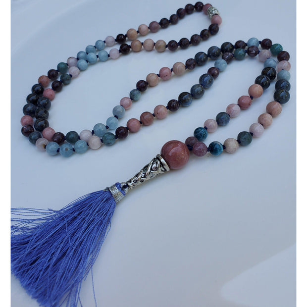 Handcrafted Kyanite, Kunzite Multi Stone Mala Necklace Mindful Creations by Gloria