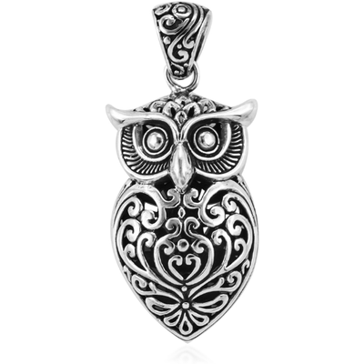 Handcrafted Owl Pendant in Platinum over Sterling Silver 8.g Gemstone Collectors U.S.