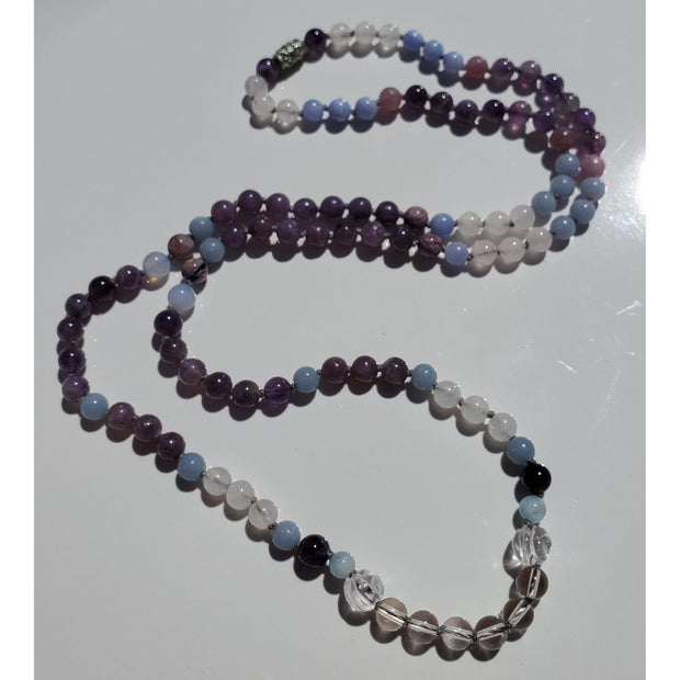 Handcrafted Quartz, Amethyst and Multi Stone Mala Necklace Mindful Creations by Gloria