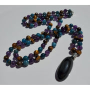 Handcrafted Rainbow Obisdian, Blue Apatite, Amethyst and Tiger's Eye Mala Necklace Mindful Creations by Gloria