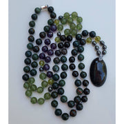 Handcrafted Rainbow Obsidian, Bloodstone And Amethyst Mala Necklace Mindful Creations by Gloria