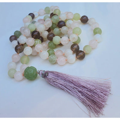Handcrafted Rose Quartz, Serpentine and Grey Agate Mala Necklace, Mindful Creations by Gloria