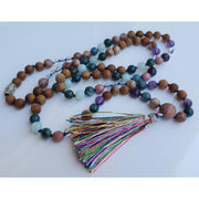 Handcrafted Sandalwood And Crystal Mala Necklace Mindful Creations by Gloria
