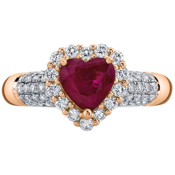 Heart Burma Ruby & Diamond Halo Ring in 14k Rose Gold Gemstone Collectors U.S.
