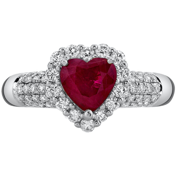 Heart Burma Ruby & Diamond Halo Ring in 14k White Gold Gemstone Collectors U.S.
