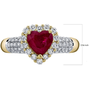 Heart Burma Ruby & Diamond Halo Ring in 14k Yellow Gold Gemstone Collectors U.S.