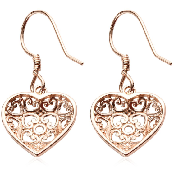 Heart Dangle Earrings in 14K Rose Gold & Platinum over Sterling Silver Gemstone Collectors U.S.