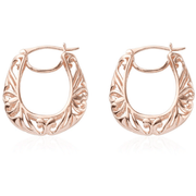 Heart Filigree Hoop Earrings in 14K Rose Gold over 925 Sterling Silver Gemstone Collectors U.S.