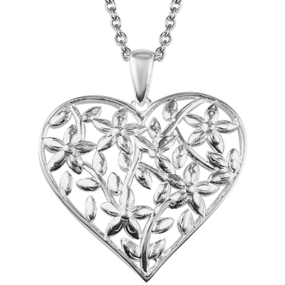 "Heart Floral Pendant Necklace in Sterling Silver & Stainless Steel 20"" Chain Gemstone Collectors U.S."