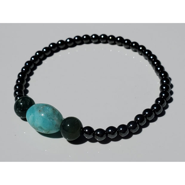 Hematite,Amazonite and Moss Agate Bracelet Mindful Creations by Gloria