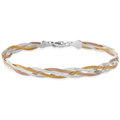 "Herringbone Bracelet in 14K Yellow Rose Gold and Sterling Silver (7.50"") Gemstone Collectors U.S."