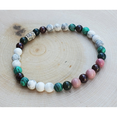 Howlite, Malachite, Garnet, Bloodstone, Rhodocrosite Bracelet Mindful Creations by Gloria