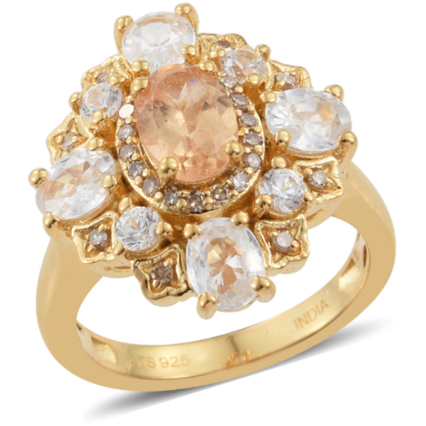Imperial Garnet, Zircon & Champagne Diamond Ring in Yellow Gold Over Sterling Silver Gemstone Collectors U.S.