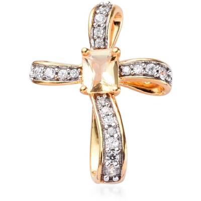 Imperial Topaz & Zircon Cross Pendant in Vermeil 14K Yellow Gold over Sterling Silver Gemstone Collectors U.S.