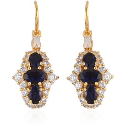 Iolite & White Zircon Dangle Earrings in 14K Yellow Gold over Sterling Silver Gemstone Collectors U.S.
