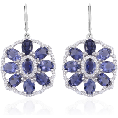 Iolite & White Zircon Earrings in Platinum over Sterling Silver Gemstone Collectors U.S.