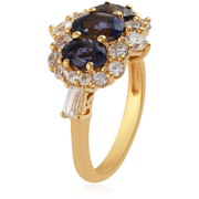 Iolite & White Zircon Ring in 14K Yellow Gold over Sterling Silver Gemstone Collectors U.S.