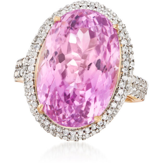 Kunzite & White Zircon 14k Yellow Gold Double Halo Ring Gemstone Collectors U.S.