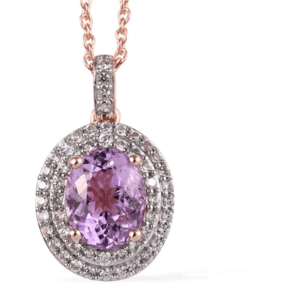 "Kunzite & Zircon Necklace (20"") Rose Gold over Sterling Silver Gemstone Collectors US"