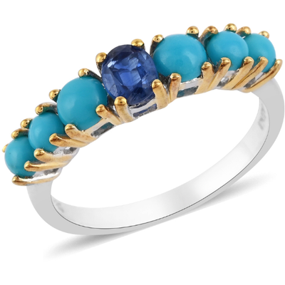 Kyanite & Sleeping Beauty Turquoise Ring in Platinum and Yellow Gold over Sterling Silver Gemstone Collectors U.S.