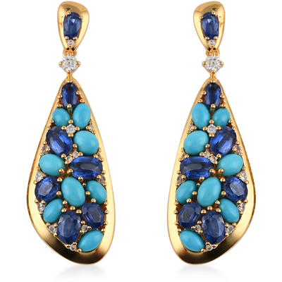 Kyanite, Turquoise & Zircon Dangle Earrings in 14K Yellow Gold over Sterling Silver Gemstone Collectors U.S.