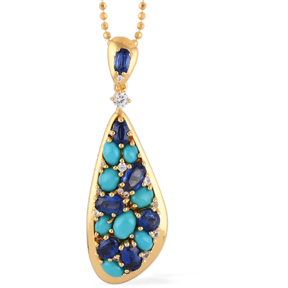 Kyanite, Turquoise & Zircon Pendant Necklace in 14K Yellow Gold over Sterling Silver Gemstone Collectors U.S.