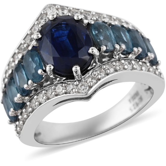 Kyanite & White Zircon Wide Band Ring in Platinum over Sterling Silver Gemstone Collectors U.S.