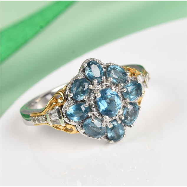 Kyanite & Zircon Cluster Ring in Yellow Gold and Platinum over Sterling Silver Gemstone Collectors U.S.