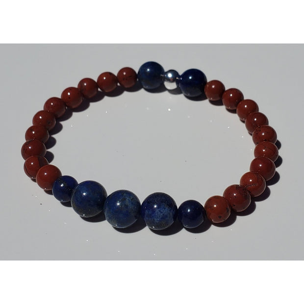 Lapis and Red Jasper Bracelet Mindful Creations by Gloria