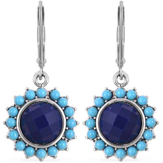 Lapis Lazuli & Blue Howlite Earrings in Surgical Grade Stainless Steel Gemstone Collectors U.S.