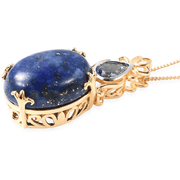 Lapis Lazuli & London Blue Topaz Pendant Necklace in Rhodium & Yellow Gold over Sterling Silver Gemstone Collectors U.S.