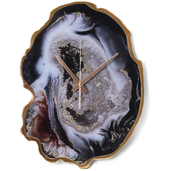 Large Multi Color Agate Wall Clock Gemstone Collectors U.S.