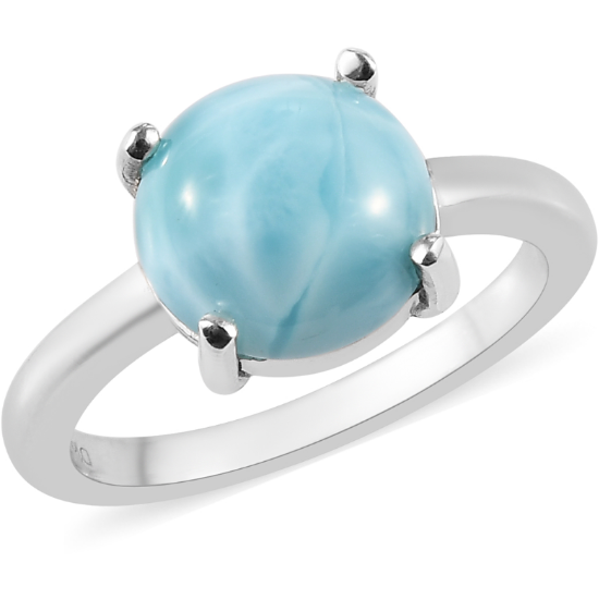 Larimar Round Solitaire Ring in Platinum over Sterling Silver Gemstone Collectors U.S.