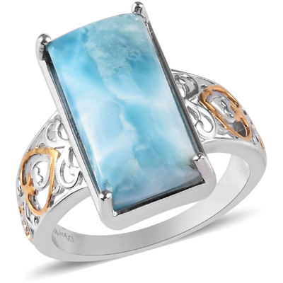 Larimar Solitire Ring in Yellow Gold & Platinum over Sterling Silver Gemstone Collectors U.S.