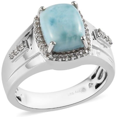Larimar & White Zircon Men's Ring in Platinum over Sterling Silver Gemstone Collectors U.S.