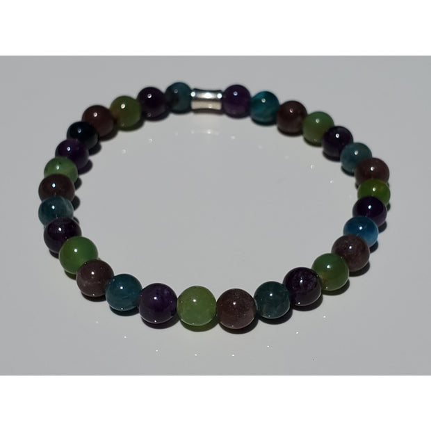 Lepidolite, Chrysophrase, Blue Apatite and Amethyst Bracelet Mindful Creations by Gloria