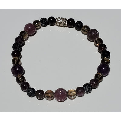 Lepidolite, Smokey Quartz and Lava Bead Bracelet Mindful Creations by Gloria