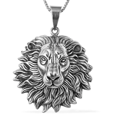 "Lion Head Pendant Necklace in Black Oxidized Stainless Steel 24"" Gemstone Collectors U.S."